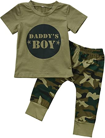 Infant Newborn Baby Daddy/'s Boy/&Girl Camo T-shirt Tops Pants Outfits Set Clothes