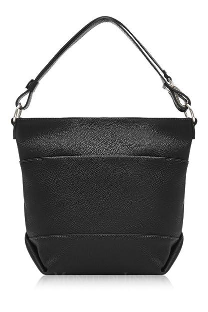 5bad8d891dbdf Italian Leather Borse In Pelle Crossbody Shoulder Messenger Bag Handbag  (Black)