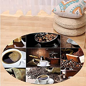 VROSELV Custom carpetKitchen Different Photos of Coffee Mugs and Roasted Bean Bags Grinder Sugarcubes Collage for Bedroom Living Room Dorm Brown White Round 34 inches