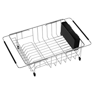 SANNO Expandable Dish Drying Rack,Adjustable Dish Drainer,Over The Sink Dish Rack in Sink or On Counter with Black Utensil Silverware Storage Holder, Rustproof Stainless Steel