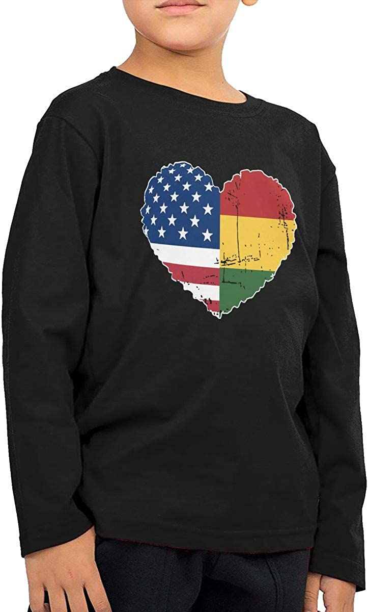 CERTONGCXTS Childrens America Rasta Flag Heart ComfortSoft Long Sleeve Tee