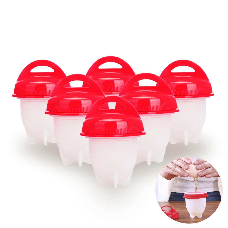 Keemanman Egg Cooker Hard & Soft Boiled Maker, BPA Free, Non Stick Silicone, 6 Pack