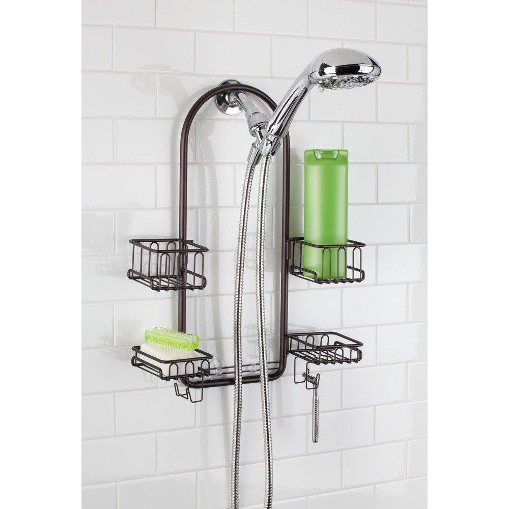 InterDesign Classico Handheld Shower Head Bathroom Caddy – Storage Shelves for Tall Shampoo and Conditioner Bottles, Bronze by InterDesign (Image #5)