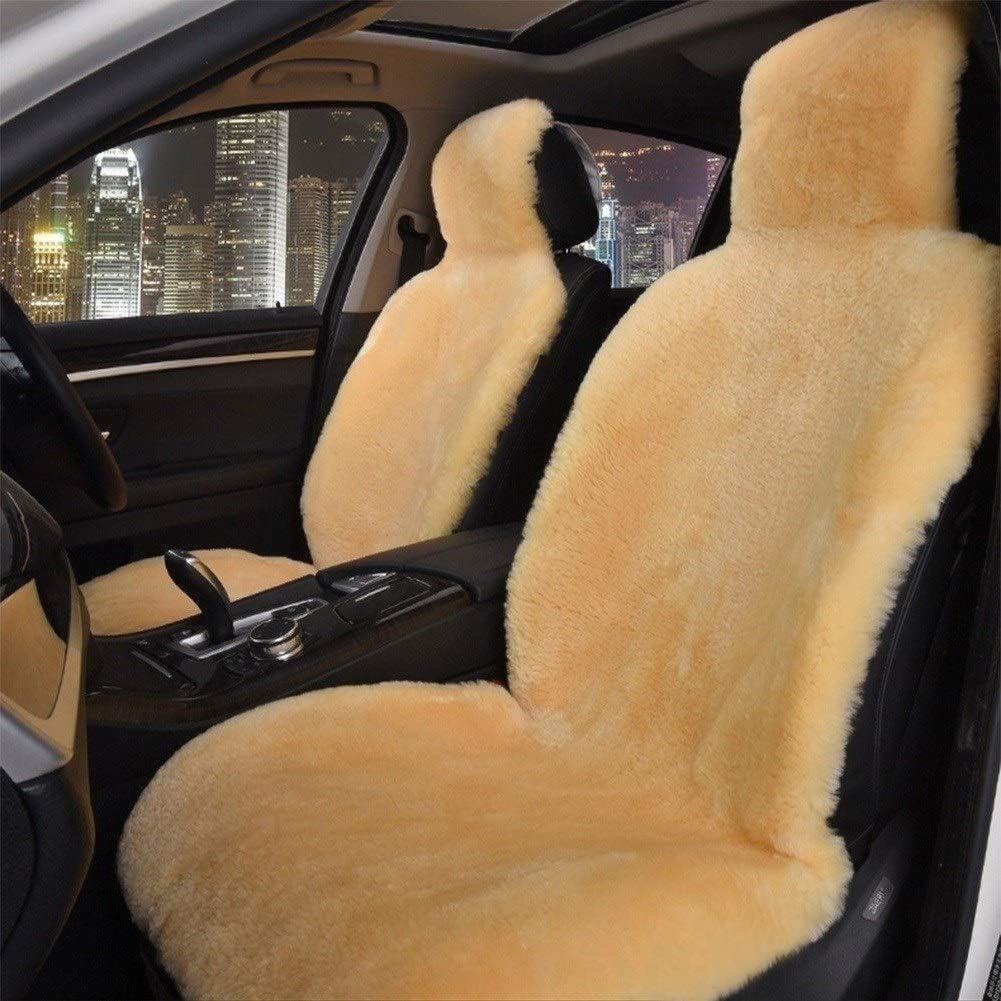 Pelz komplett Universal Fit Multiple Farboptionen, One Piece Color : Champagne A-ffort Australian echte Vollschaffell Sitzbez/üge for SUV LKW Autos Vordersitze Nur