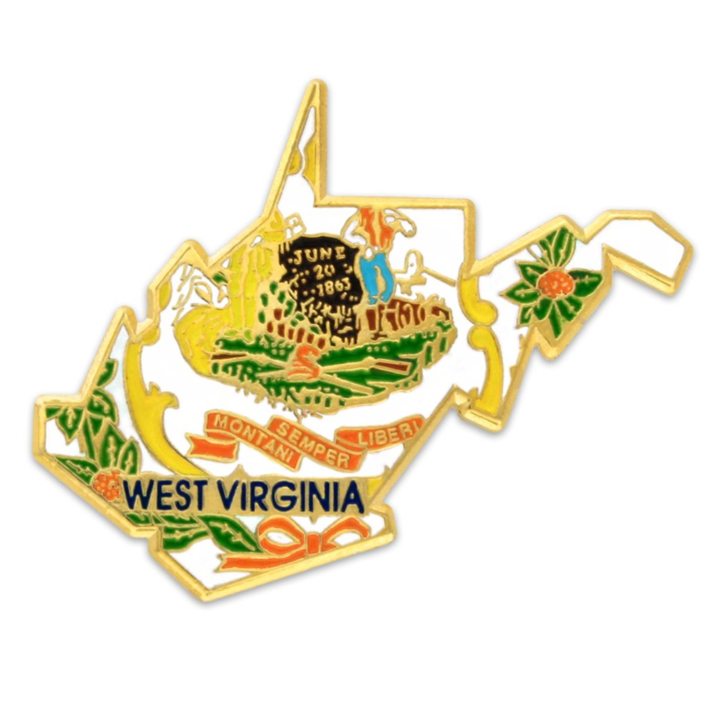 PinMart's State Shape of West Virginia and West Virginia Flag Lapel Pin