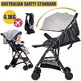Baby City Tour Stroller Pram Compact Light Weight Folding Toddler Strollers Carrier Travel Umbrella Jogger (Grey)