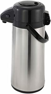 Winco 2.2 Liter Glass Lined Airpot, Push Button
