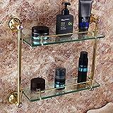 JinRou Unique design style Antique gold plated double glass Dresser bathroom Bathroom rack