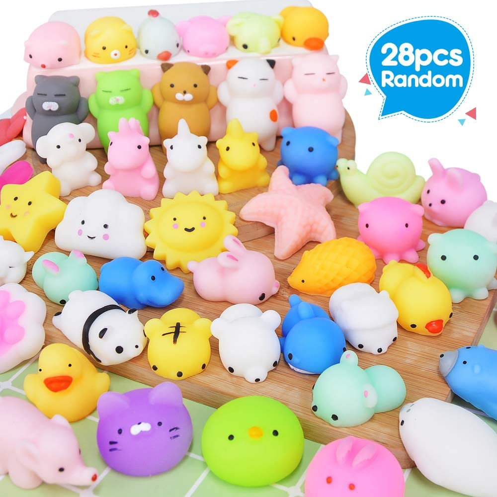 UMIKU 28PCS Mochi Squishy Toys Party Favors for Kids Mini Squishy Kawaii Animal Squishies Squeeze Toy Cat Squishy Stress Relief Toys for Adults Goodie Bag Filler Birthday Favors for Kids Random