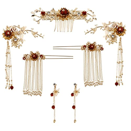 9728d0ced5149 Fityle 7 Pieces Chinese Ancient Bridal Hair Accessories Styling ...