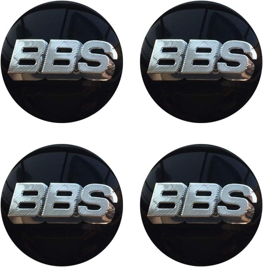 Bettway BBS Center Caps Stickers - 65mm 2.56'' Auto Car Sticker Wheel Center Hub Cap Logo Aluminium Universal Fit for Auto SUV 4PCS (65mm/2.56'', Black&Silver)