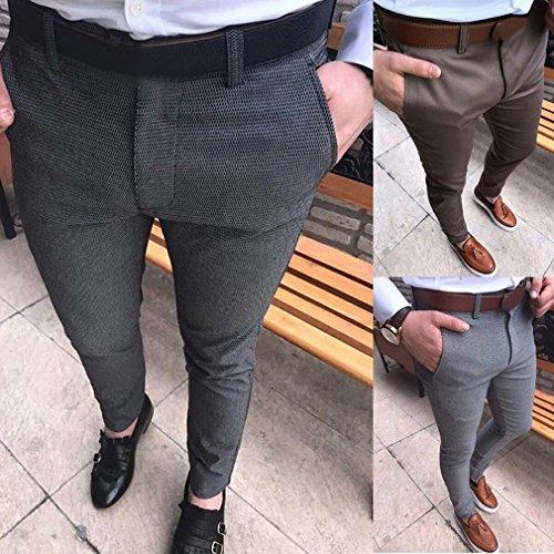 Foncé Ouvert Basique Costume Fit Loisirs Gris Pantalon Slim Couleur Unie Yunhou Éclair Fermeture De Homme Classique ZwHv7aq