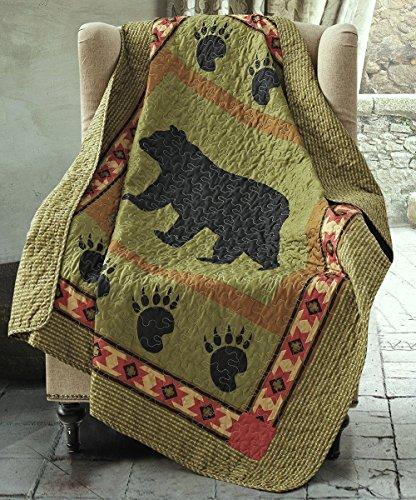 Black Bear Throw - Duke Imports DQT649 Bear Quilt Throw, 50