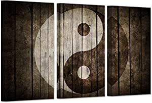iHAPPYWALL Vintage Wall Art Canvas Black And White Yin Yang Symbol on Wood Backgroud Spiritual Peace Tao Gossip Chinse Religion Giclee Canvas Print For Home Living Room Decor