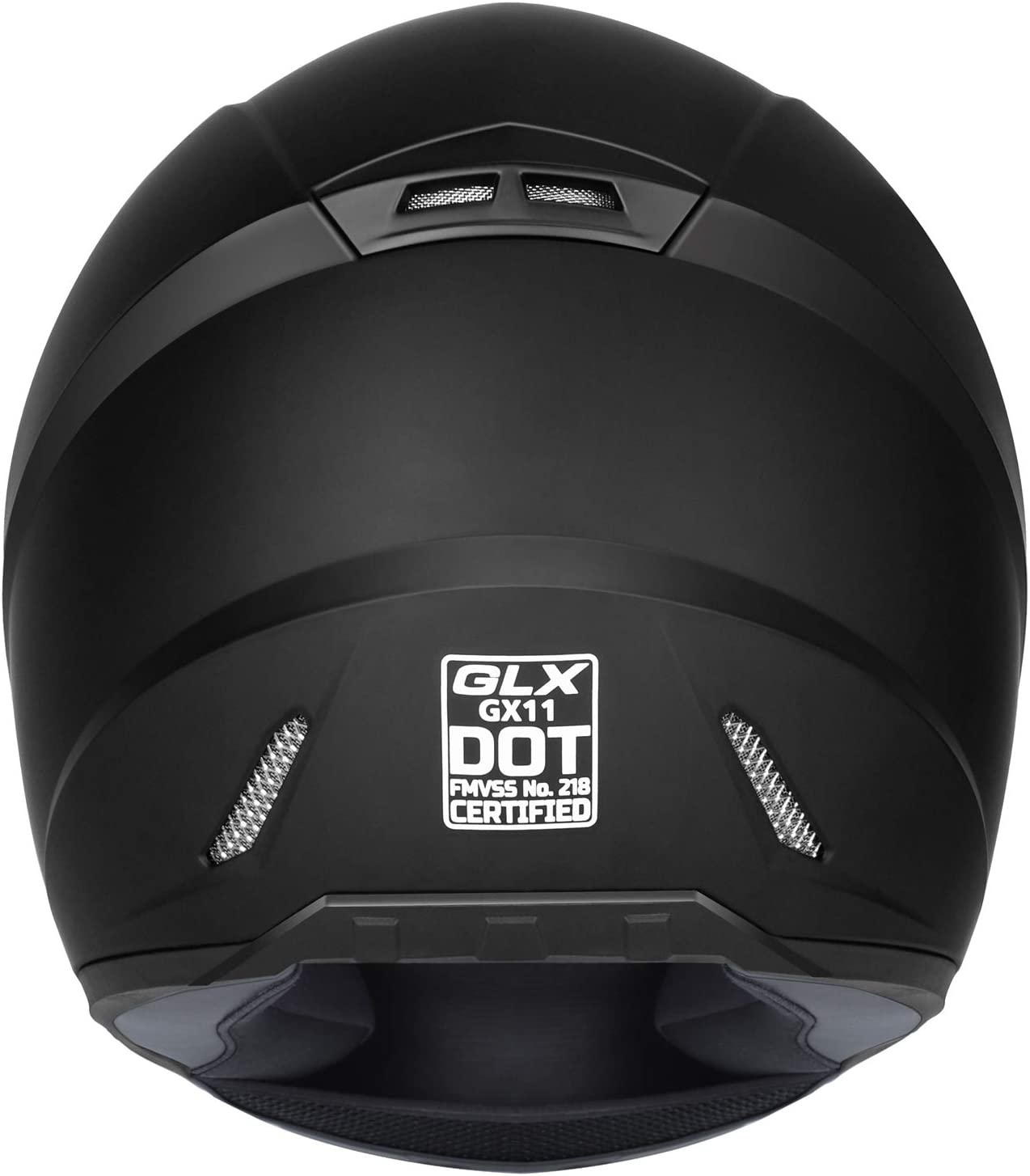 GLX Unisex-Adult GX11 Compact Lightweight Full Face Motorcycle Street Bike Helmet with Extra Tinted Visor DOT Approved Matte Black, Large