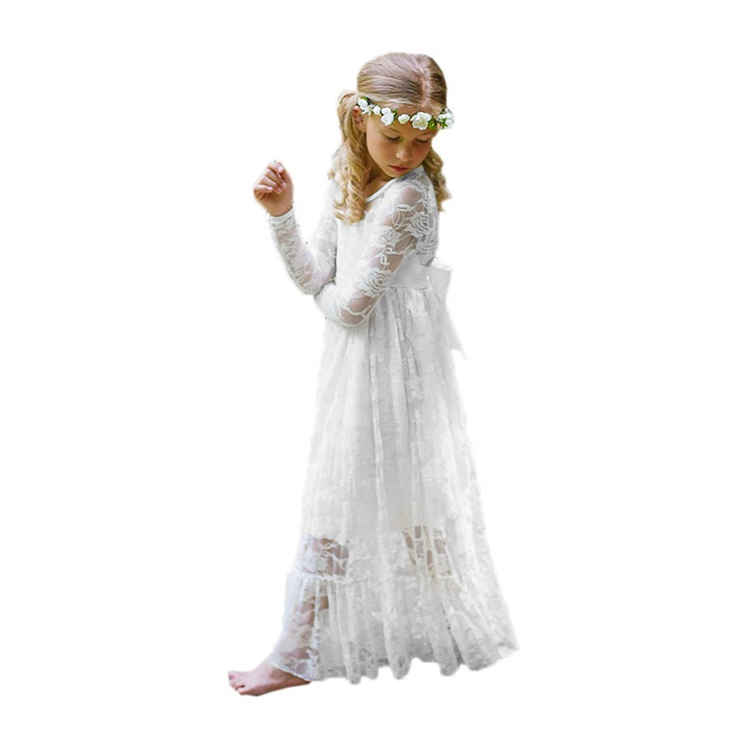Carat Fancy Ivory White Lace Boho Rustic Flower Girl Dress 2-12 Year Old