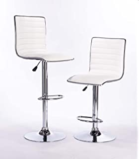 White Modern Adjustable Synthetic Leather Swivel Bar Stools Chairs  Sets Of  2