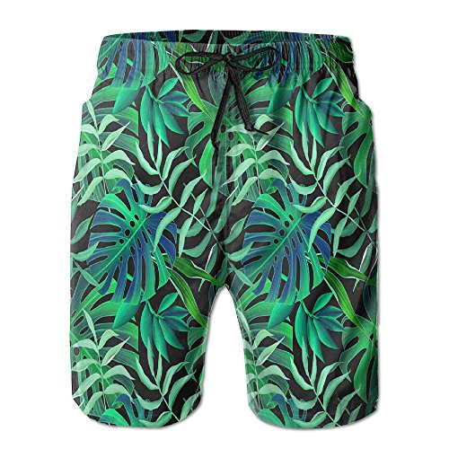 Lime Green Leisure Suit (JH SPEED Mens Surf Beach Shorts Swim-trunks Quick Dry Bright Green Leaves Board Shorts With Pocket)