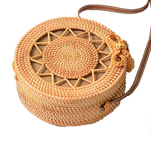 Summer Handmade Round Shoulder Woven Purse Handbag Hollow Bag Beige Beach Rattan Out Women's SqvSa