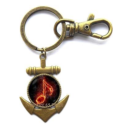 Llavero de ancla de notas musicales, clave de clave de sol y ...