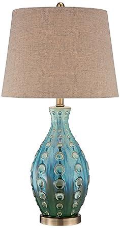 Elegant Mid Century Ceramic Vase Teal Table Lamp