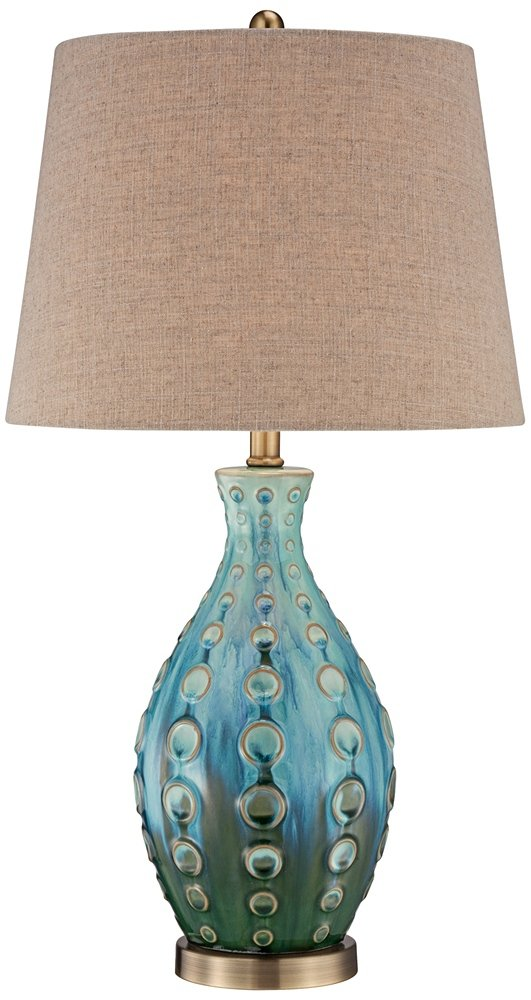 "Mid Century Modern Table Lamp Vase Teal Handmade Tan Linen Tapered Drum Shade for Living Room Family Bedroom Bedside - 360 Lighting - 26 1/2"" high overall. Base is 5 1/2"" wide. Shade is 11 1/2"" across top x 14 1/2"" across bottom x 10 1/2"" high. Base is 11 1/2"" wide at its widest point. Weighs 6.2 lbs. Takes one maximum 100 watt standard-medium base bulb (not included). On-off socket switch. Handmade ceramic base with hand applied teal finish glaze. From the 360 Lighting brand. - lamps, bedroom-decor, bedroom - 61z%2BYLj3VwL -"