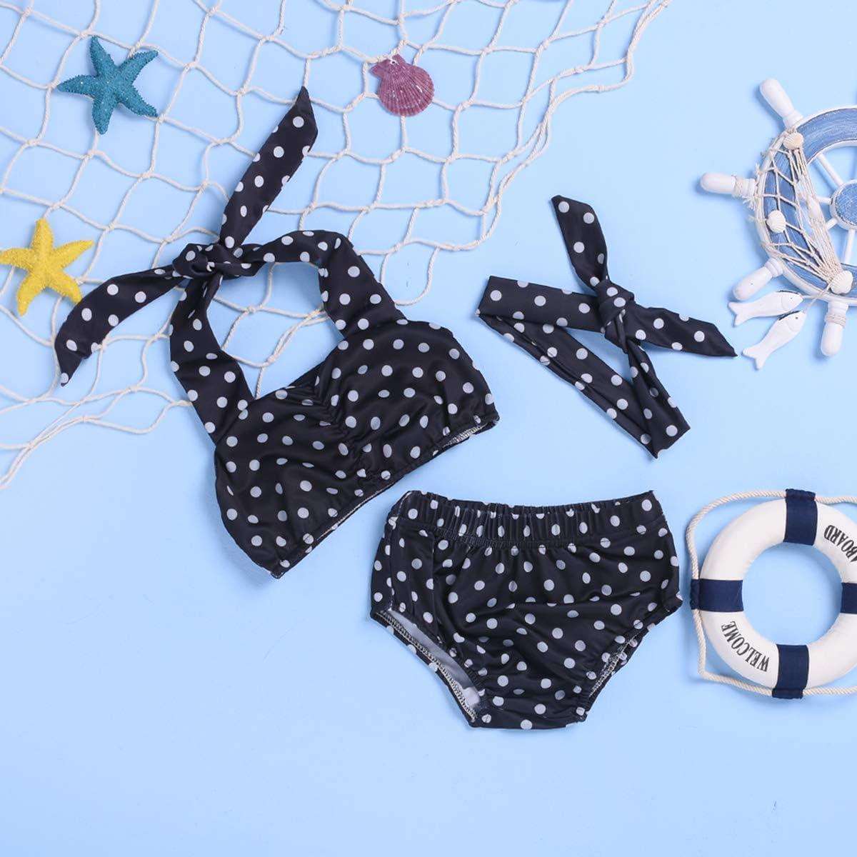 Girls Kids Polka Dots Swimwear Swimming Costume Swimsuit Bikini Age 2-14 Years