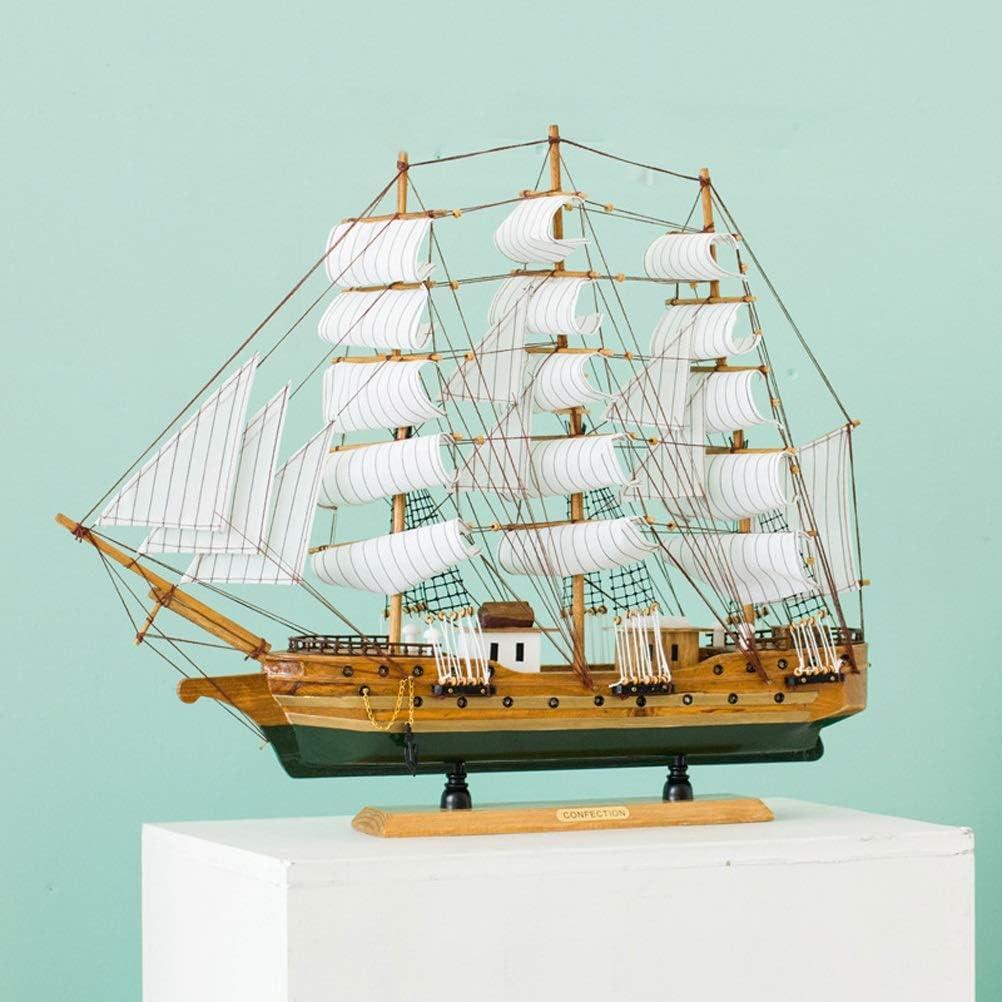ホームデコレーション60センチメートルヨットモデル木製の船事務所航海ボートの装飾クリスマスのギフト