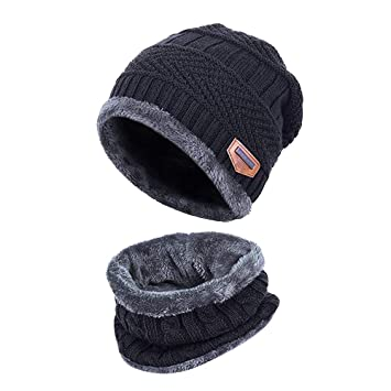 696164a9b AYAMAYA Winter Hats for Adults/Kids, Knit Beanie Cap and Scarf with Fleece  Lining 2-Piece Slouchy Thick Neck Warm Knitting Cap Headwear for ...