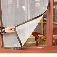 """GettyGears diseño único de fibra de vidrio magnético ventana de malla anti moscas Mosquito Insecto cortina de malla con imanes para ventana 3 calcomanía rayas magnéticas sin perforación ignífugo, 22"""" x 39"""" Inch, White Mesh Black Hems"""