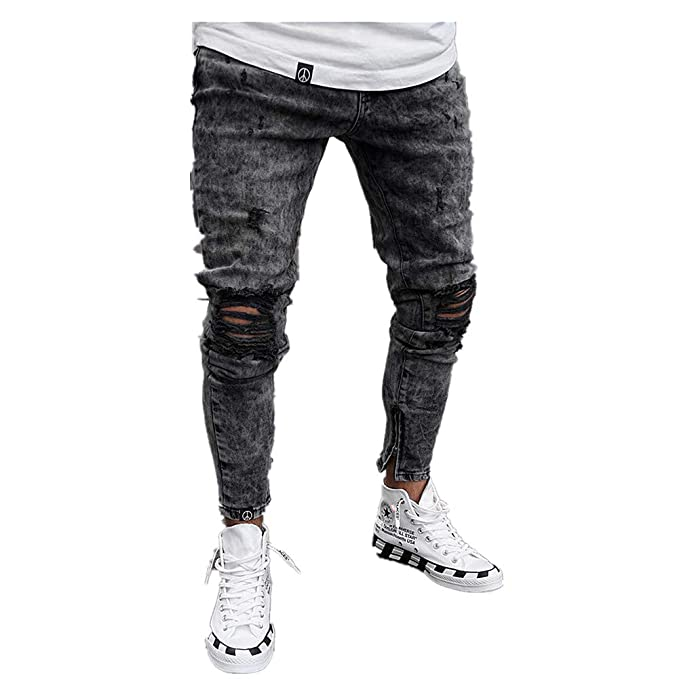 Chickwin Pantalones Vaqueros Hombre Rotos, Skinny Slim Fit ...