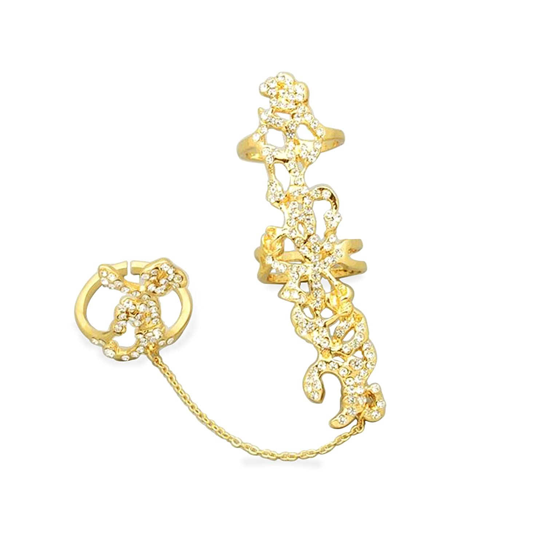 [Entrega en 8-12 días laborables] fasherati plata Studded doble dedo anillo para niñas JDR008_Artificial jewellery_1