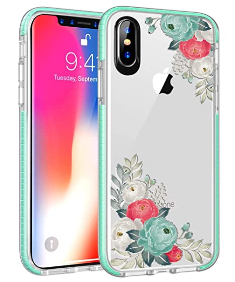 Amazon Com Iphone Xs Max Case Clear Tpu Flower Design Teal Frame