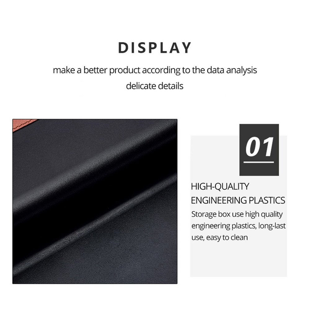 PU Leather Leak-Proof Storage Box Organizer Seat Crevice slit Pockets Universal Car Seat Side Gap Filler Seat Side Drop Catcher Tray Brown