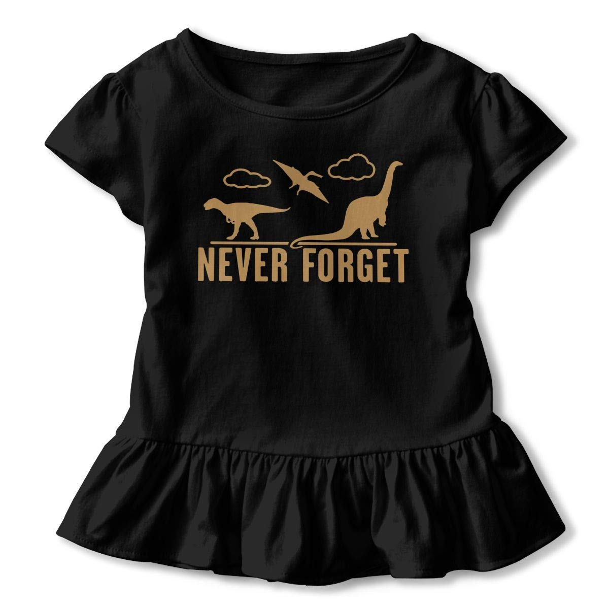 j65rwjtrhtr Girls Camicie Sleeve Never Forget Dinosaurs T-Shirts 2-6T Ruffled Blouse Clothes with Flounces