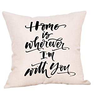 """Ogiselestyle Home is Wherever I'm with You Motivational Sign Cotton Linen Home Decorative Throw Pillow Case Cushion Cover for Sofa Couch, 18"""" x 18"""""""
