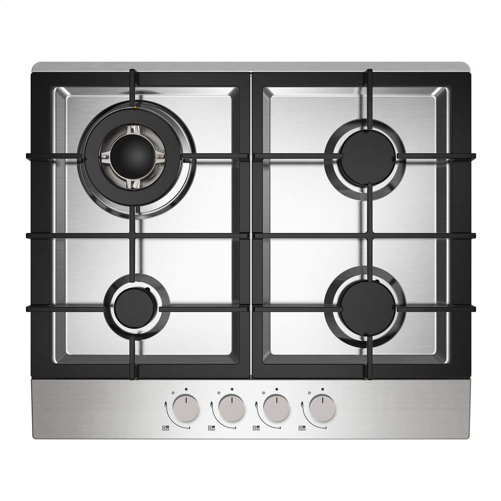 Igenix GH61SS 4 Burner Gas Hob, Cooker Cooktop with Wok Burner and Cast Iron Pan Supports, 60 cm, Stainless Steel Statesman