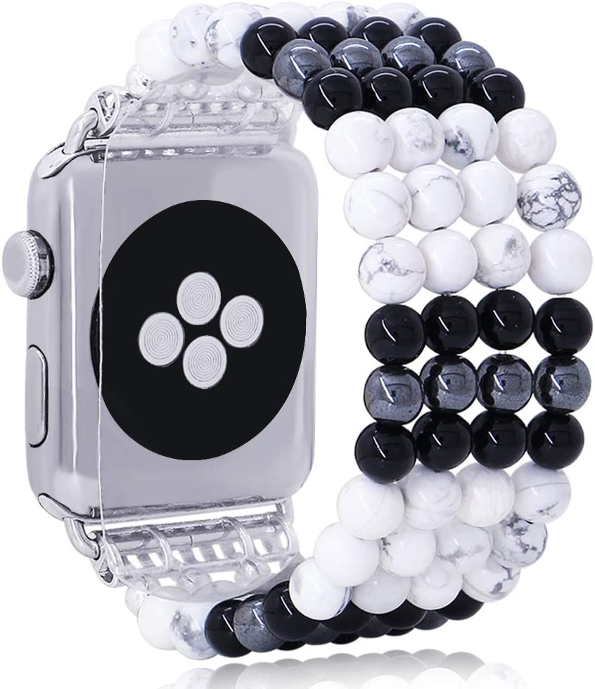 KAI Top Unique Watch Band Compatible with Apple Watch 38mm 40mm 42mm 44mm, White-Turquoise and Black Agate Hematite Bracelet Women Band Strap for iWatch Series 5 4 3 2 1