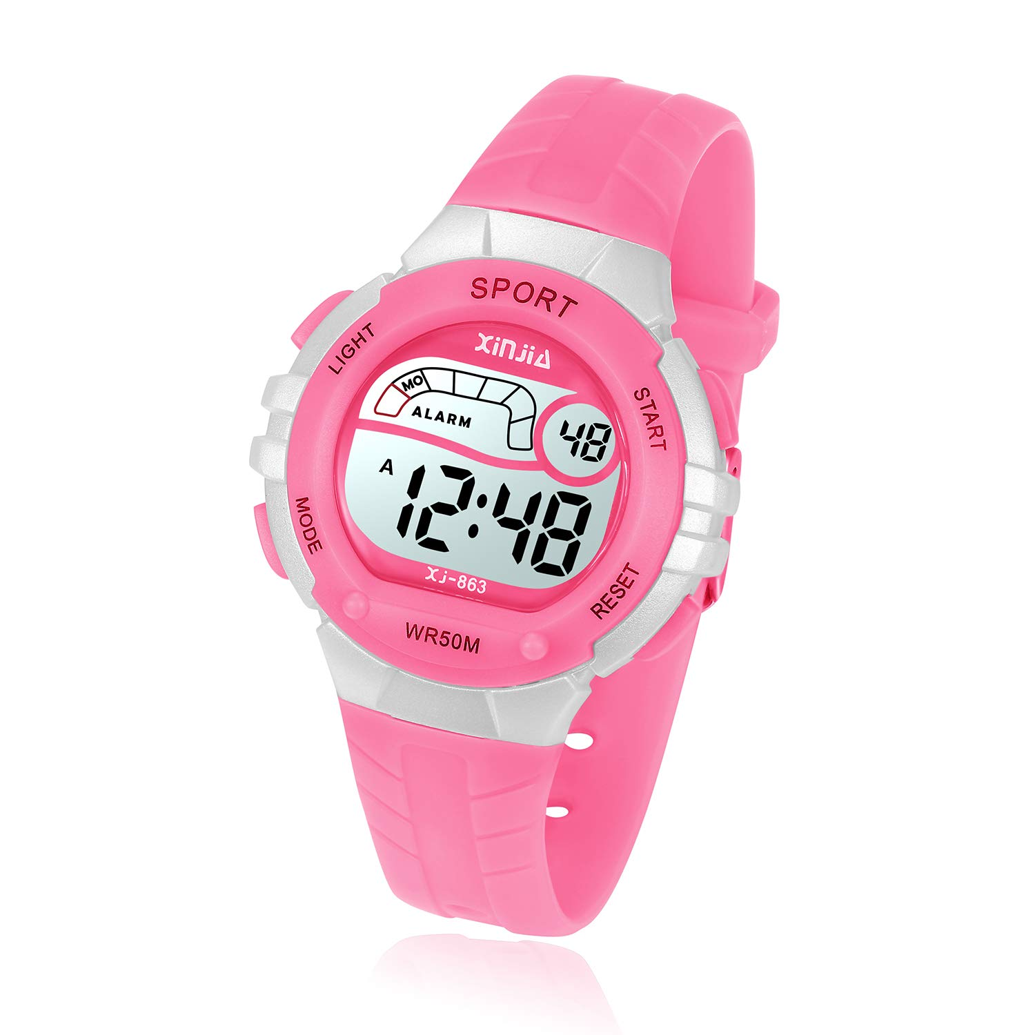Kids Digital Watch, Girls Boys 50M(5ATM) Waterproof Multi-Functional WristWatches for Children(Pink) by Yadelai