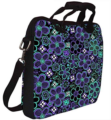 Snoogg Neon Floral Schwarz Muster 30,5cm 30,7cm 31,8cm Zoll Laptop Notebook Computer Schultertasche Messenger-Tasche Griff Tasche mit weichem Tragegriff abnehmbarer Schultergurt für Laptop Tablet P