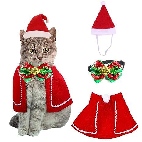 QIMMU Gorra de Papá Noel de Navidad Ajustable de Mascotas, Capa, Collar de Pajarita,Disfraz de Navidad para Cachorro Gatito Gatos Pequeños Perros ...