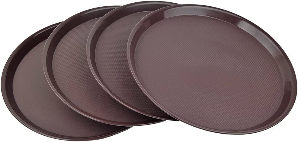 Ggbin Round Serving Tray for Food, Non-Slip, Set of 4