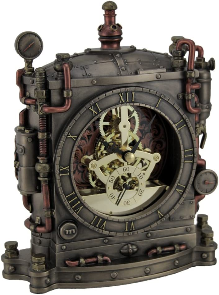 Resin Mantel Clocks The Grand Machine Steampunk Style Bronze Finished Mantel Clock 6.5 X 7.75 X 2.25 Inches Bronze