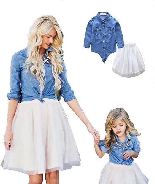 Linnuo Vestido Madre e Hija Camisetas Tops Blusas Jeans & Falda ...