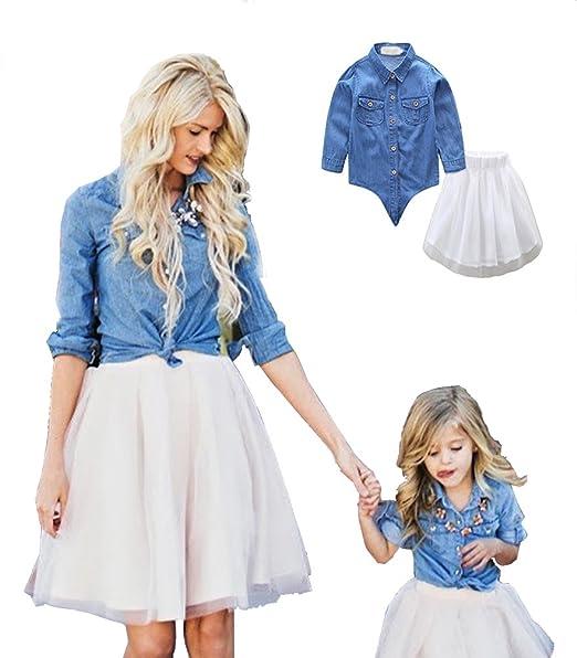 LINNUO Vestido Madre e Hija Camisetas Tops Blusas Jeans & Falda Tutú Tul Ballet Vestido Mujeres