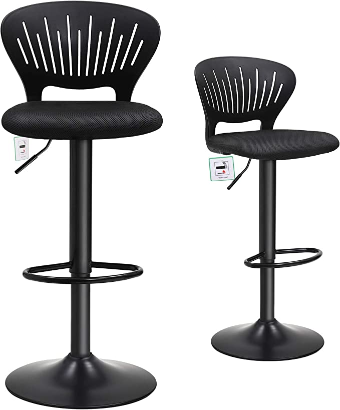 Songmics Bar Stool Set Of 2 Height Adjustable Bar Chairs With Crown Shaped Back Comfortable Padded Seat Footrest Breathable Mesh Fabric 360 Swivel For Kitchen Bar Black Ljb04bkuk Amazon Co Uk Kitchen Home