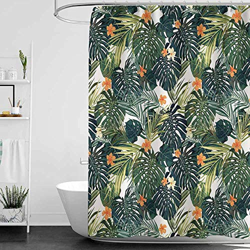 (SKDSArts Shower Curtains Rings for Bathroom Hawaii,Colorful Palm Trees Tropical Plants with Botanical Inspirations,Fern Green Jade Green Orange,W36 x L72,Shower Curtain for Shower stall)