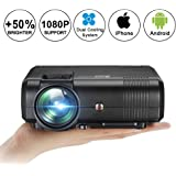 Video Projector 1080P Full HD, Weton +50% Lumens LCD Portable Home Theater Movie Projector Mini Projector Support HDMI,VGA,USB,AV,SD Input for Home Cinema TV, Laptop, Gaming, Smartphone