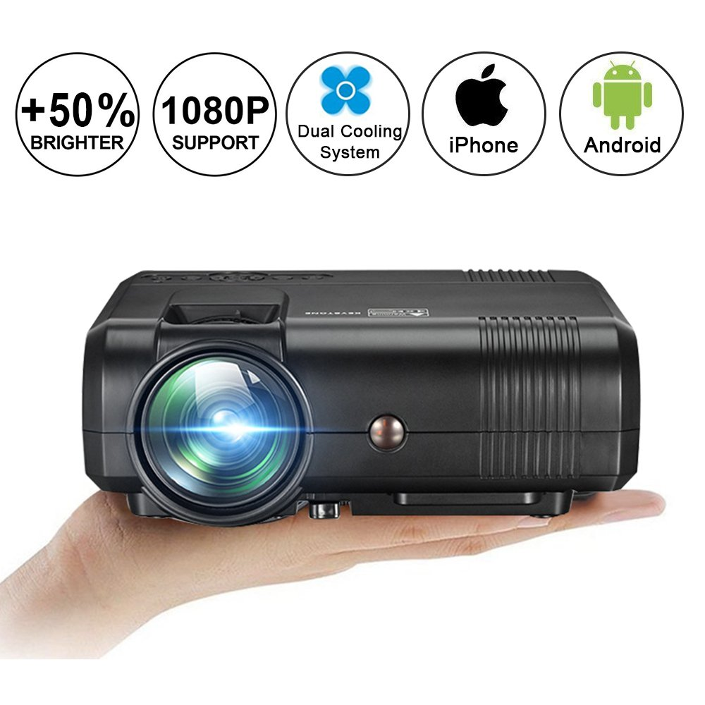 Video Projector 1080P Full HD, Weton +50% Lumens LCD Portable Home Theater Movie Projector Mini Projector Support HDMI,VGA,USB,AV,SD Input for Home Cinema TV, Laptop, Gaming, Smartphone by Weton