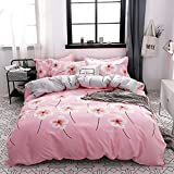 KFZ Bed Set (Twin Full Queen King Size) [Duvet Cover, Flat Sheet, Pillow Cases] No Comforter FD Flower Leaves Love Green Plants Design Kids Adults Sheets Set (Taste Sweet, Pink, Queen 78''x91'')